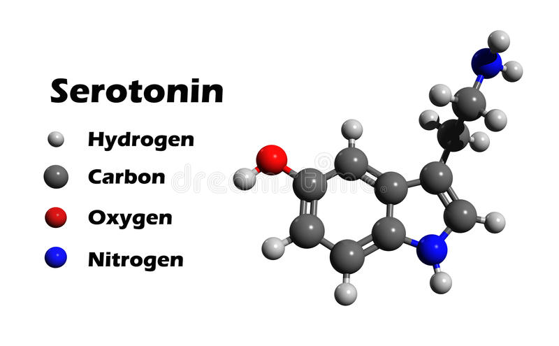 Serotonin 3D structure. 3D structure of serotonin, hormone that contributes to feeling of happines, on white background stock illustration