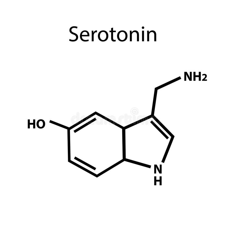 Serotonin is a hormone. Chemical formula. Vector illustration on isolated background stock illustration