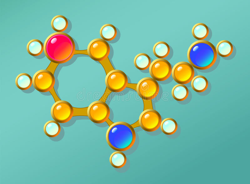 Serotonin molecule. Illustration structure from gold jewelry. vector illustration