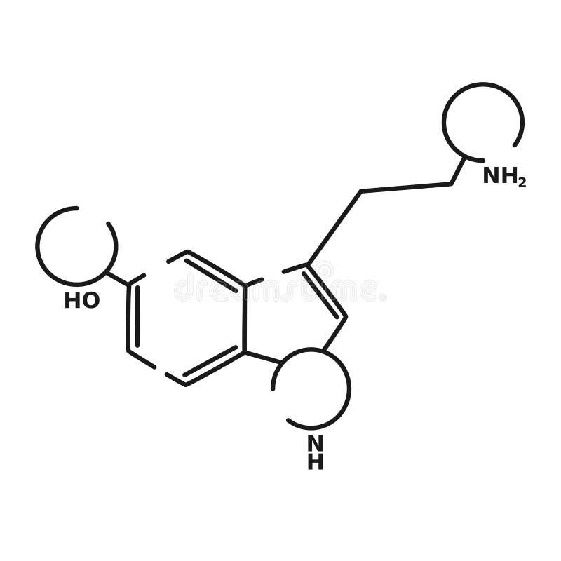 Serotonin vector black linear flat style icon vector illustration