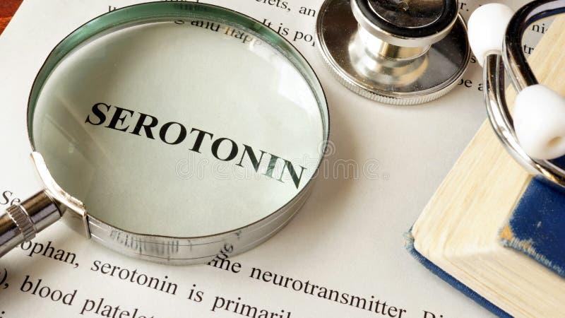 Serotonin written on a page. royalty free stock photography