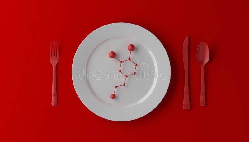 Serotonina sulla piastrina bianca con il cucchiaio, il coltello e la forchetta su fondo rosso illustrazione 3D fotografia stock libera da diritti