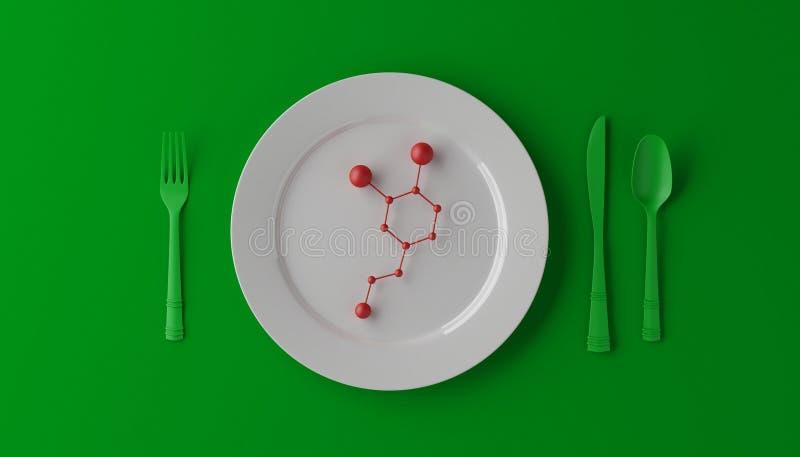 Serotonina sulla piastrina bianca con il cucchiaio, il coltello e la forchetta su fondo verde illustrazione 3D illustrazione di stock