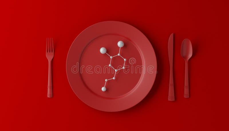 Serotonina sulla piastrina rossa con il cucchiaio, il coltello e la forchetta su fondo rosso illustrazione 3D illustrazione vettoriale