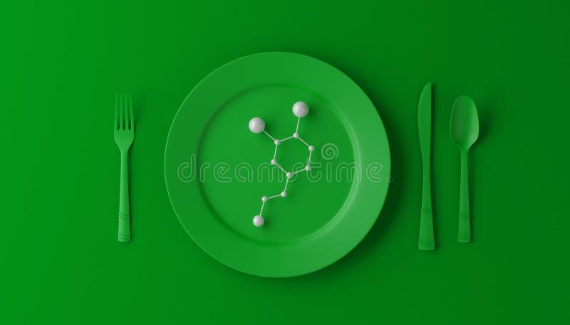 Serotonina sulla piastrina verde con il cucchiaio, il coltello e la forchetta su fondo verde illustrazione 3D illustrazione vettoriale
