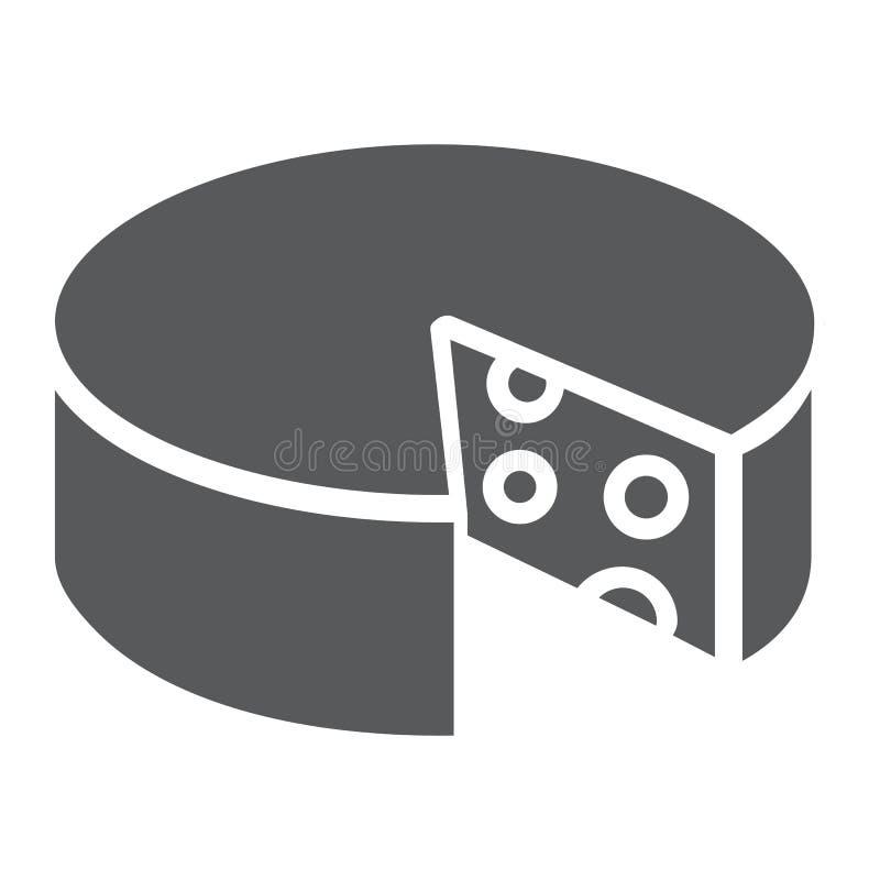 Serowa glif ikona, jedzenie i mleko, cheddaru znak, wektorowe grafika, bryła wzór na białym tle ilustracji