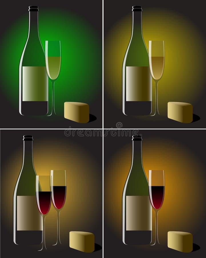 serowego życia spokojny wino royalty ilustracja