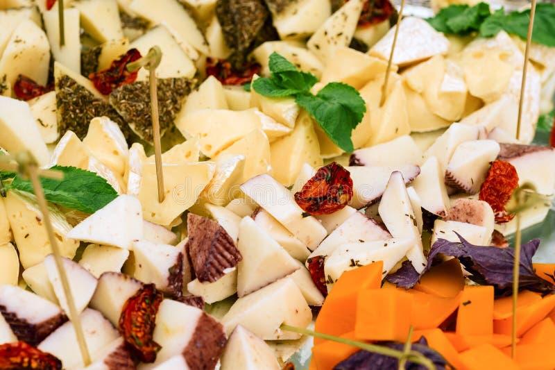Serowego talerza asortyment z wysuszonymi pomidorami i zielonej sałatki liśćmi zdjęcia stock
