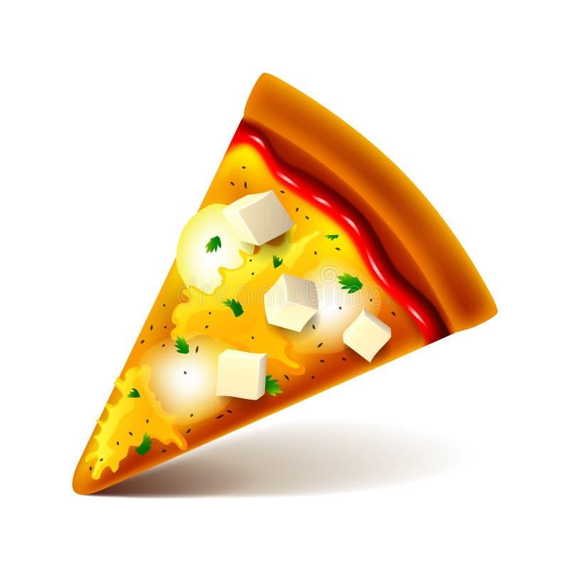 Serowej pizzy plasterek odizolowywający na białym wektorze ilustracji