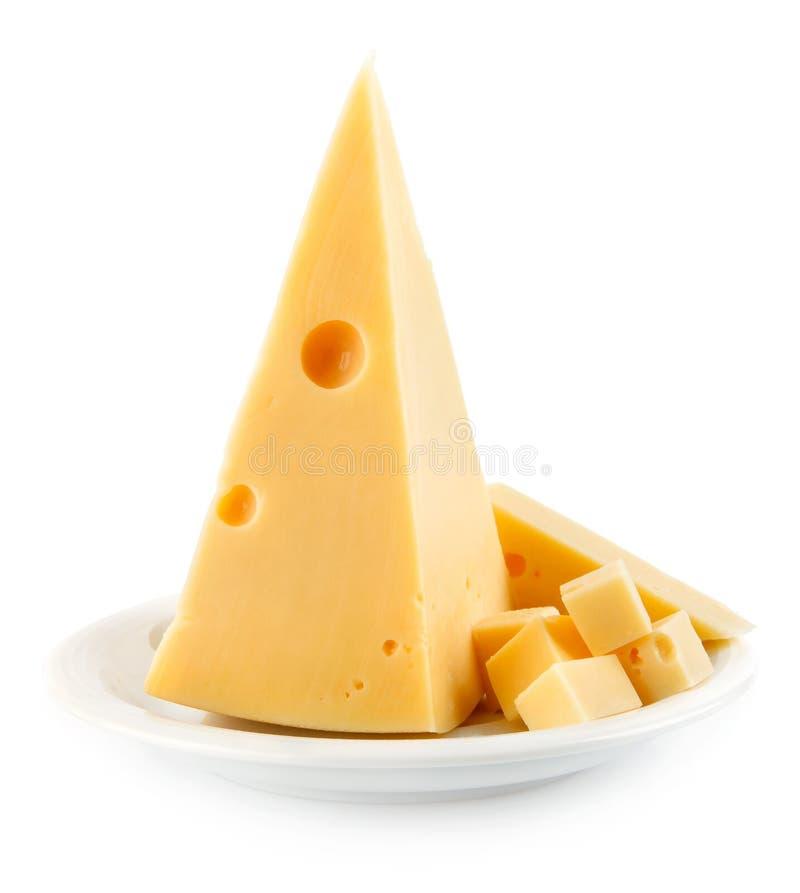 serowej połówki odosobniony biały kolor żółty zdjęcia stock