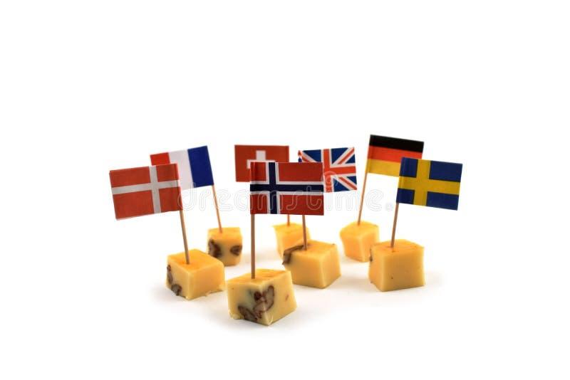 Serowi sześciany z flaga akcyjnymi wizerunkami zdjęcia stock