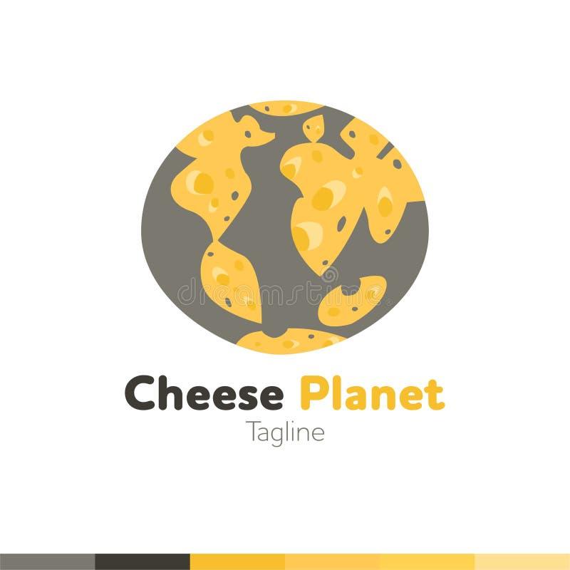 Serowy planeta logo, Restauracyjny logo, jedzenie i kulinarny logo, vect ilustracji