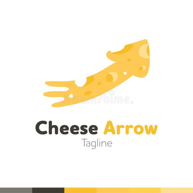 Serowy strzałkowaty logo, Restauracyjny logo, jedzenie i kulinarny logo, vecto royalty ilustracja