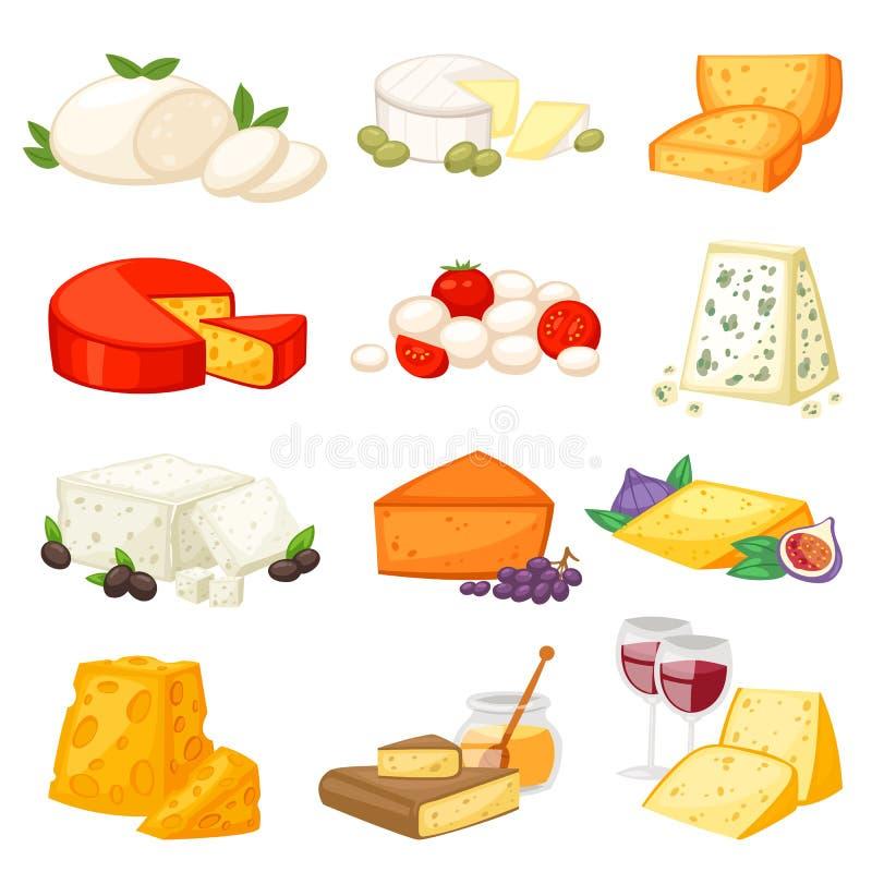 Serowy wektorowy tandetny jedzenie i nabiały z cheeseparing ilustracyjnym ustawiającym szwajcarska zakąski mozzarella, cheddar lu ilustracja wektor