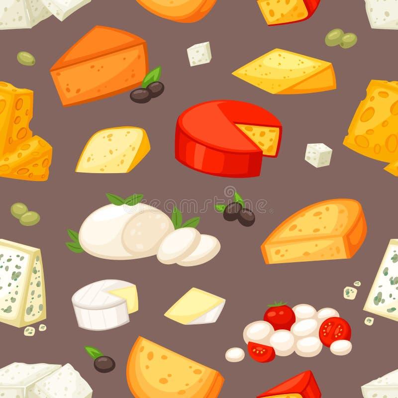 Serowy wektorowy tandetny jedzenie i nabiały z cheeseparing ilustracyjnym ustawiającym szwajcarska zakąski mozzarella, cheddar lu ilustracji