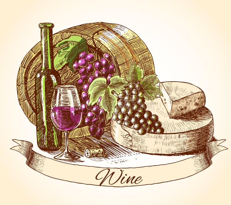 Serowy wina i chleba tło royalty ilustracja