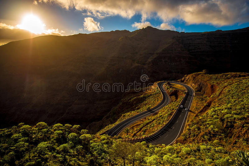 Serpantine mountain road. On the western part of La Gomera island on the sunset stock photography