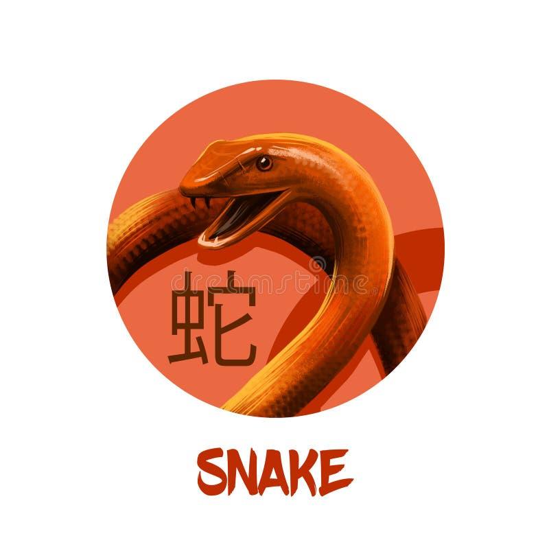 Serpeggi il carattere cinese dell'oroscopo isolato su fondo bianco Simbolo del nuovo anno 2025 Animale del rettile nel cerchio ro illustrazione vettoriale