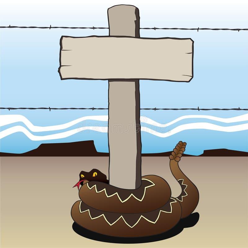 Serpent à sonnettes enroulé autour du poteau indicateur illustration stock
