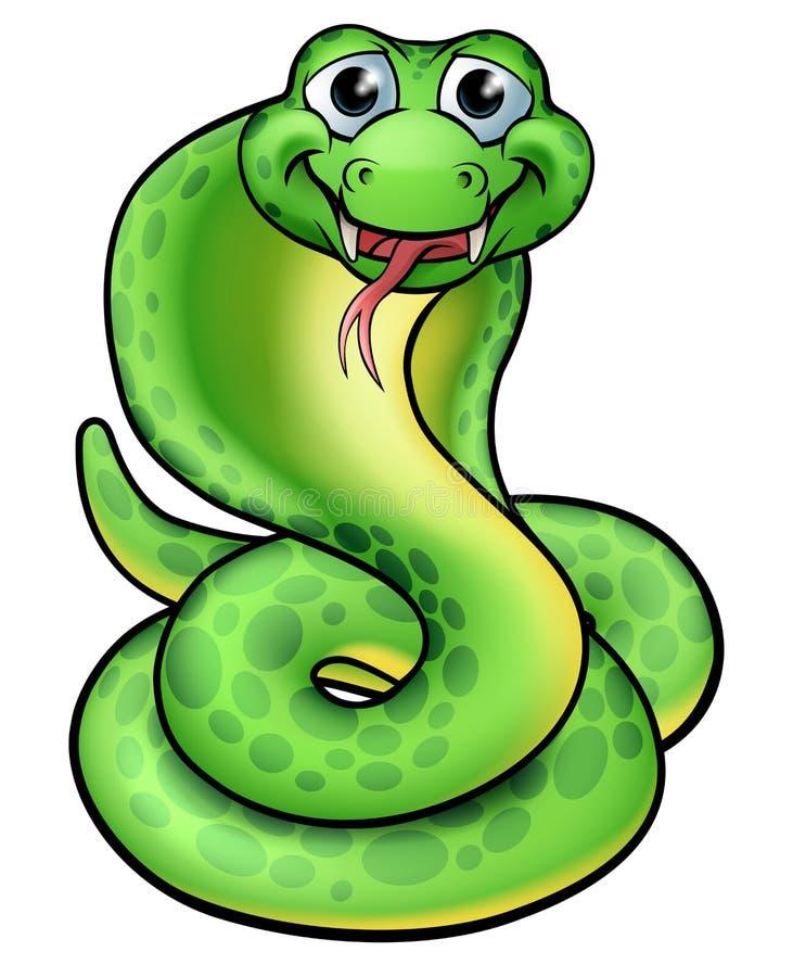 Serpent amical de cobra de bande dessinée illustration libre de droits