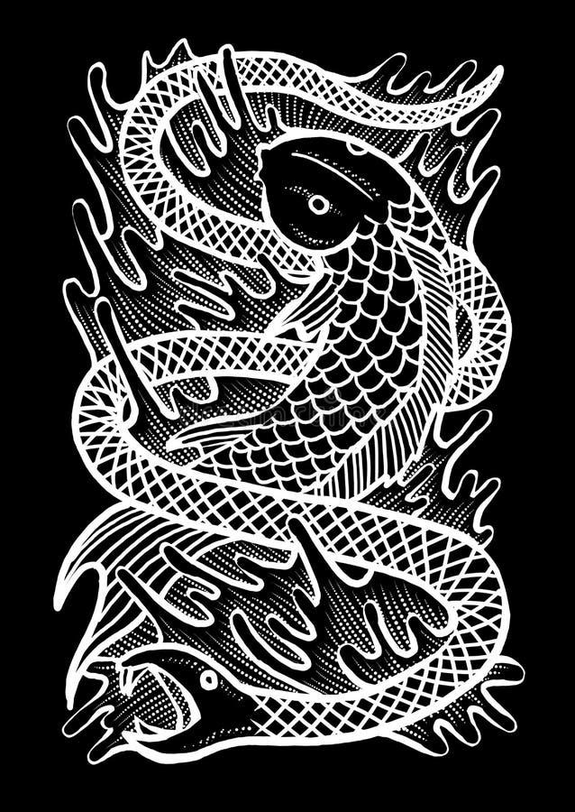 Serpent Art Illustration de poissons illustration libre de droits