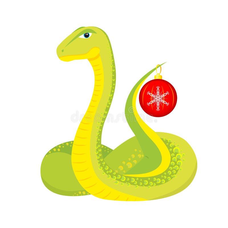 Serpent avec la bille de Noël illustration libre de droits