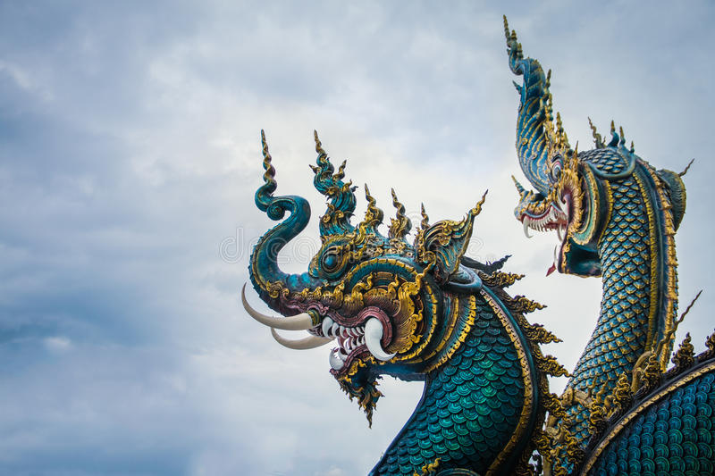 Serpent at Buddhist temple in Chiang Rai royalty free stock image