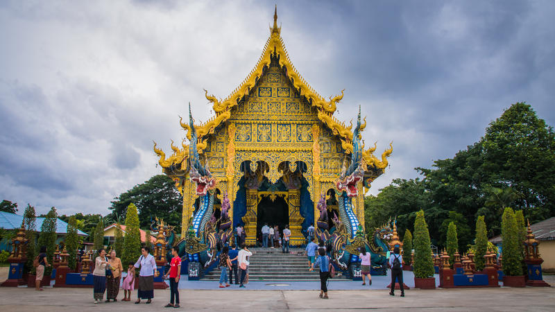 Serpent at Buddhist temple in Chiang Rai stock photos