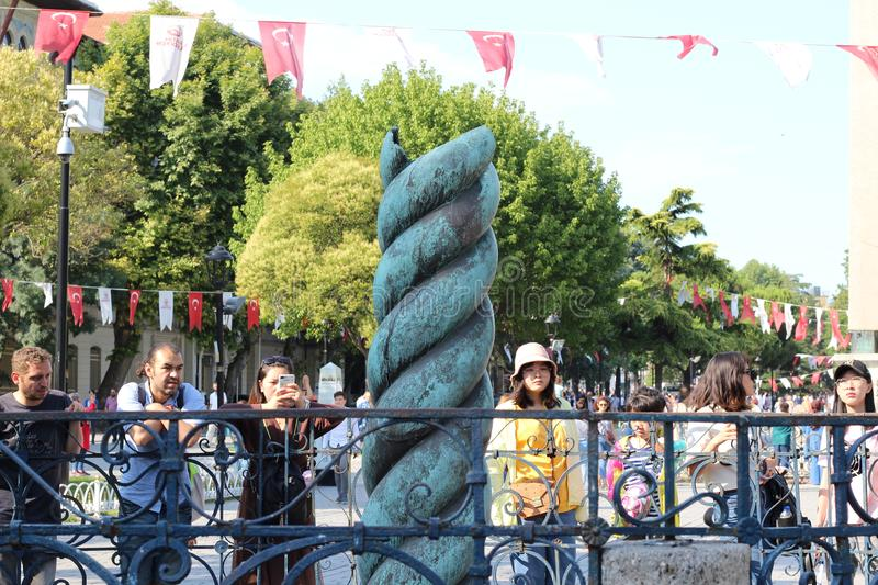 Serpent Column is an ancient bronze column at the Hippodrome of Constantinople royalty free stock photo