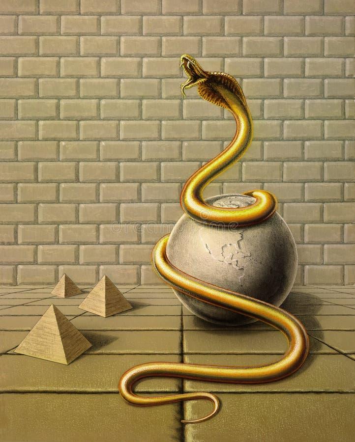 Serpent d'or dans l'ambiance surréaliste illustration stock