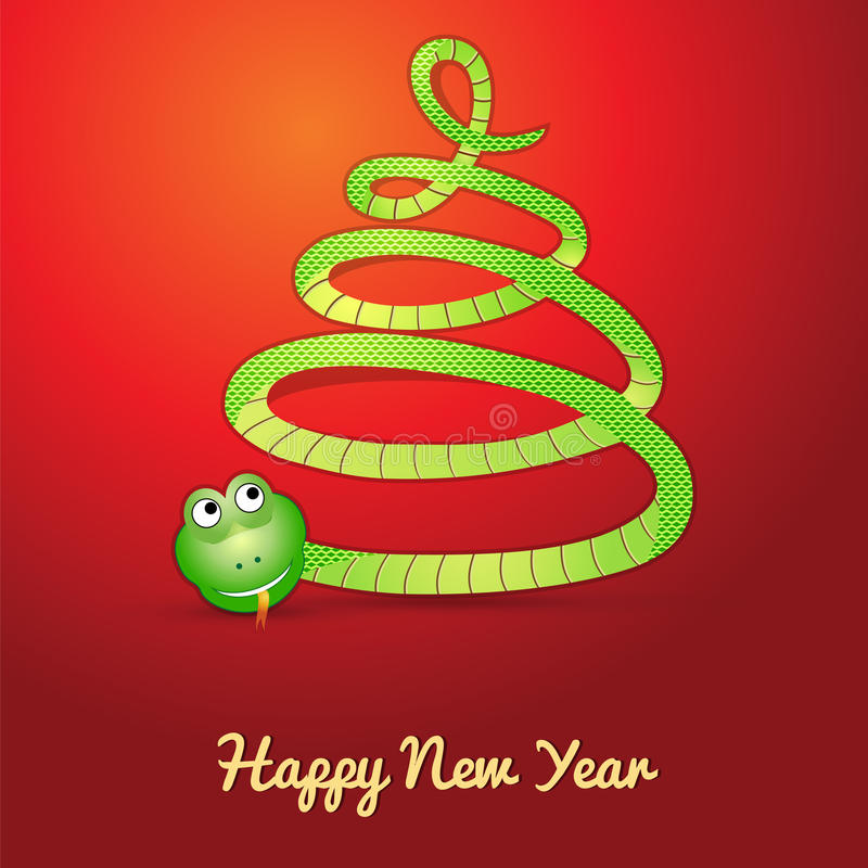 Serpent dans la forme d'un arbre de Noël illustration libre de droits