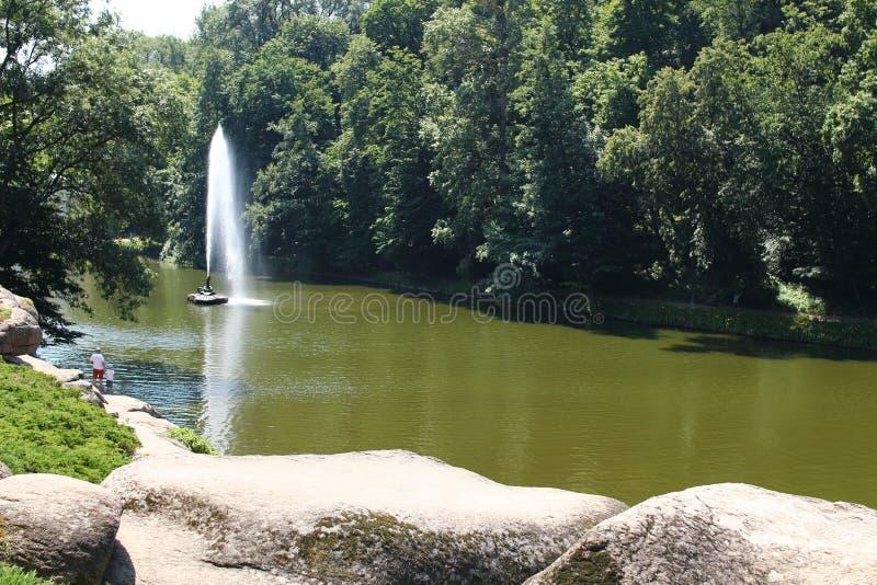 Serpent de fontaine en parc de Sofiyivsky Arborétum de jardin botanique dans Uman, Cherkasy Oblast, Ukraine image stock