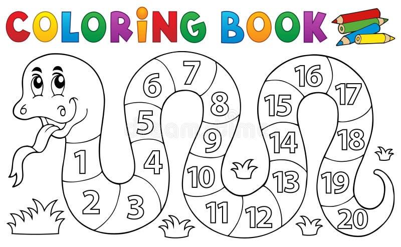 Serpent de livre de coloriage avec le thème de nombres illustration stock