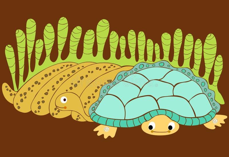 Serpent et tortue illustration de vecteur