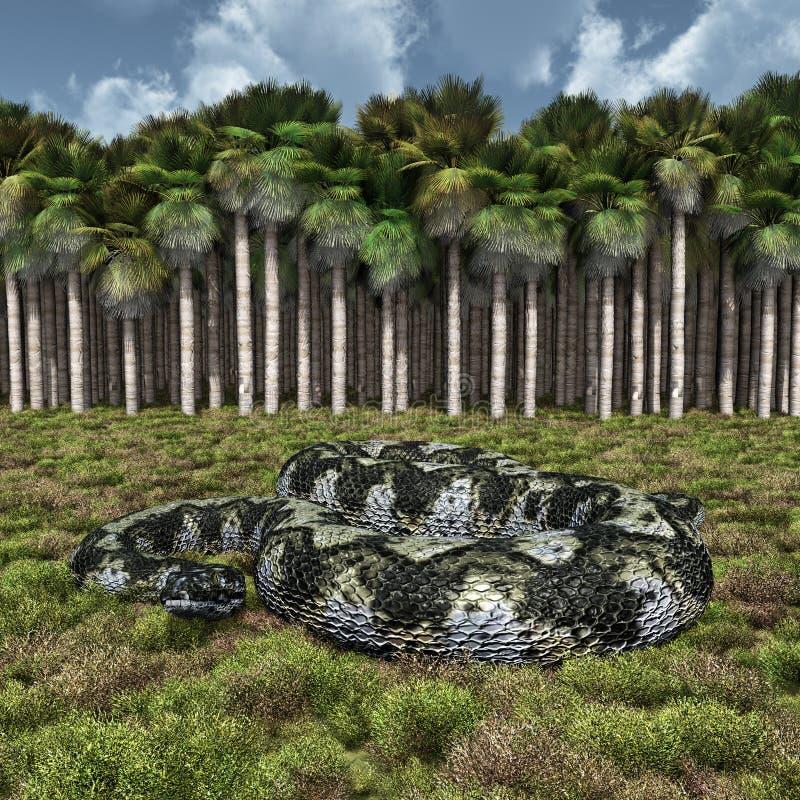 Serpent géant préhistorique Titanoboa illustration libre de droits