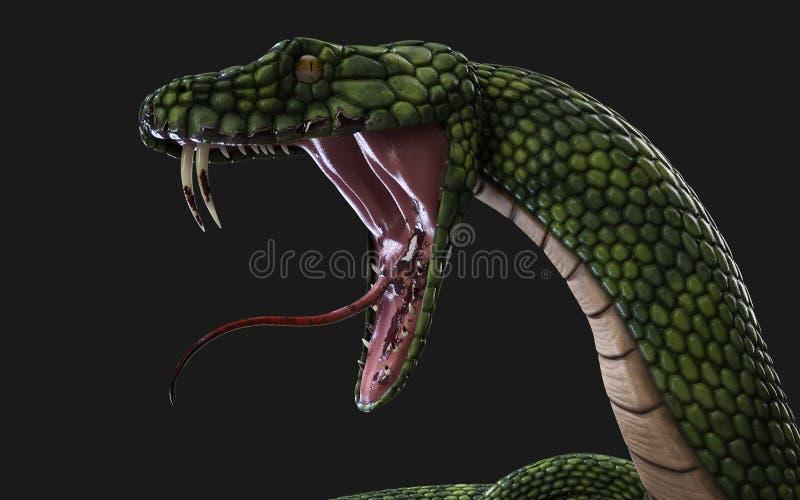 Serpent géant vert d'imagination illustration libre de droits
