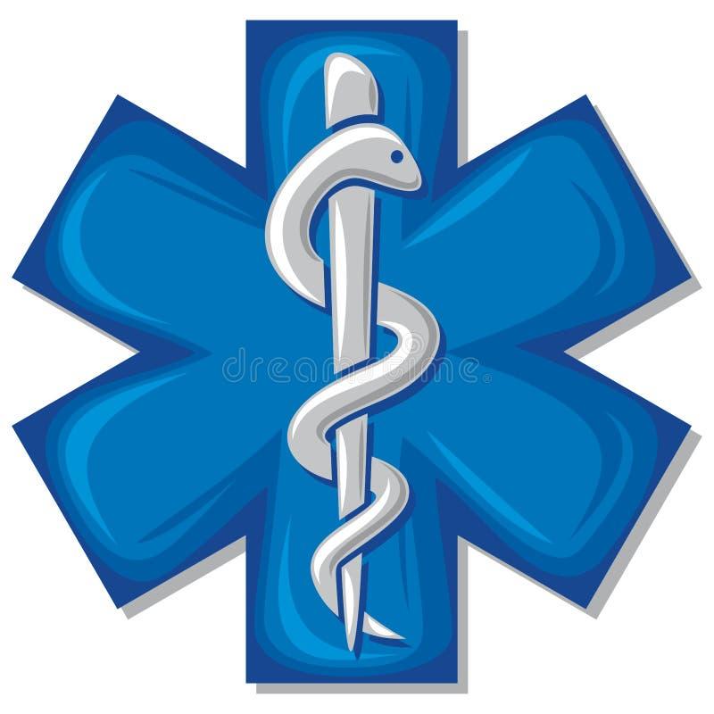 Serpent médical de caducée de symbole avec le bâton illustration stock