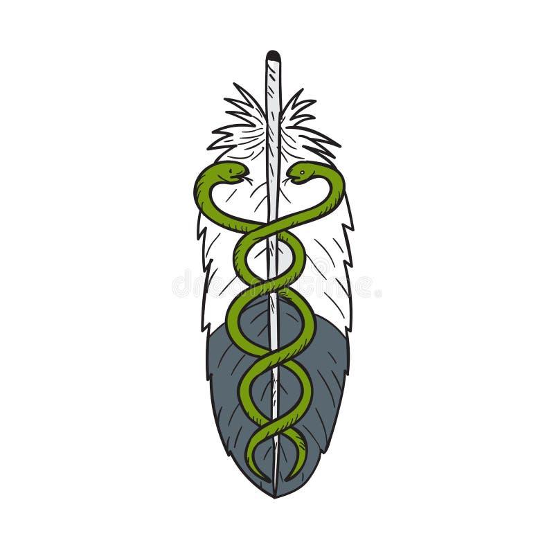 Serpent médical Eagle Feather Drawing illustration libre de droits