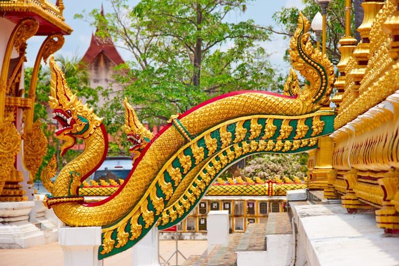 Serpent ou naga d'or sur l'escalier image libre de droits