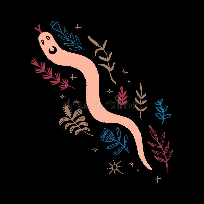 Serpent tiré par la main Art abstrait moderne d'isolement de reptile tropical Vecteur illustration stock
