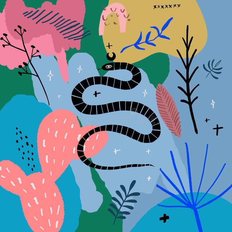 Serpent tiré par la main Art abstrait moderne d'isolement de reptile tropical Vecteur illustration libre de droits