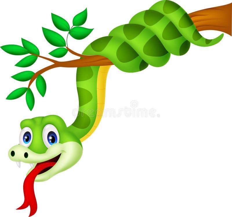 Serpent vert de bande dessinée sur la branche illustration de vecteur