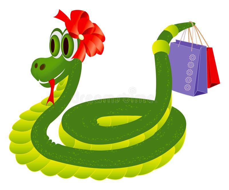 Serpente com os sacos de compras ilustração royalty free