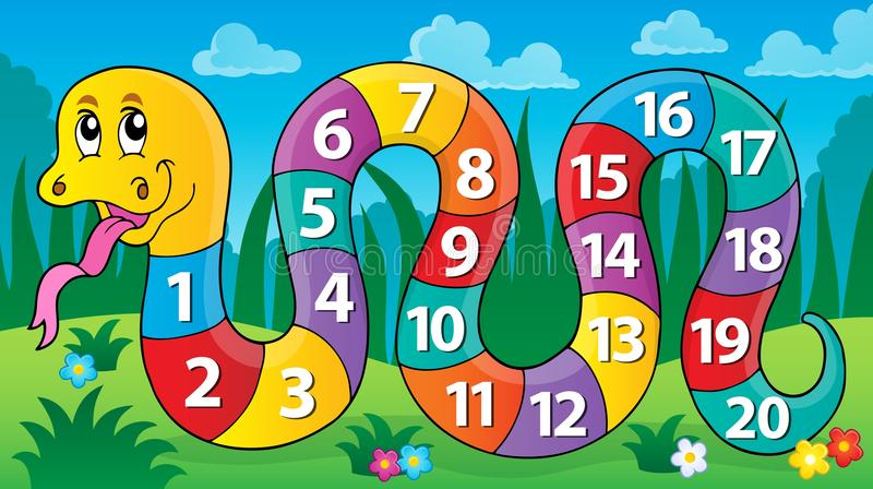 Serpente con l'immagine 2 di tema di numeri illustrazione di stock