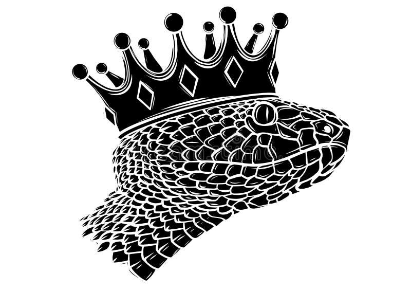 Serpente d'annata disegnato a mano con arte del tatuaggio della corona Illustrazione di vettore isolata Stile lineare invecchiato royalty illustrazione gratis