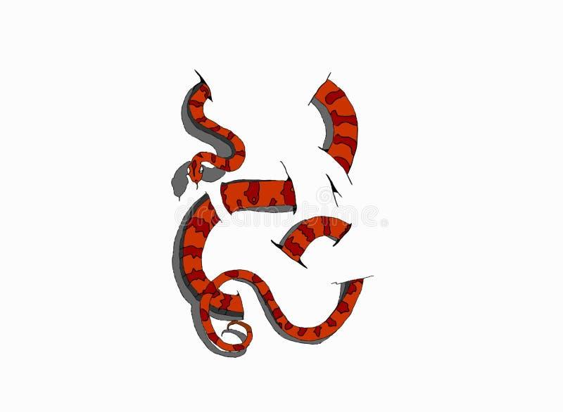 serpente 3D su fondo bianco illustrazione di stock