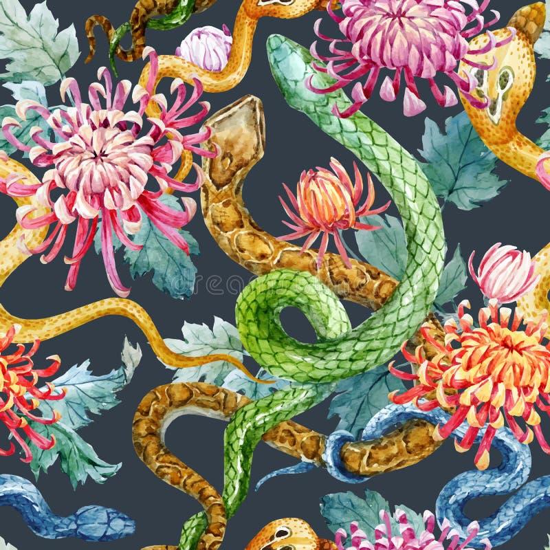 Serpente da aquarela e teste padrão de flores ilustração do vetor