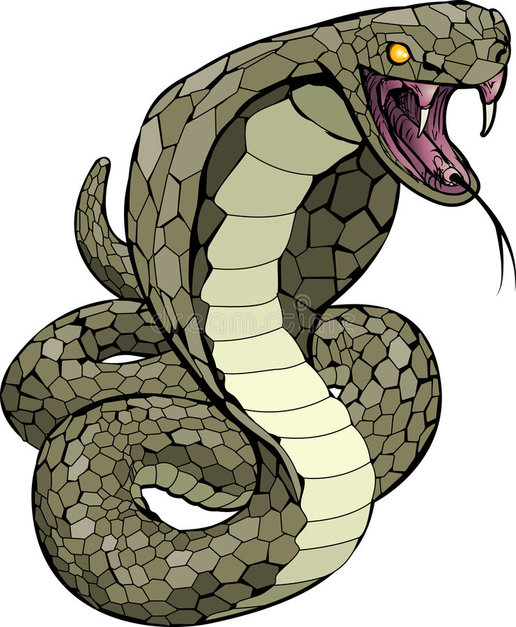 Serpente da cobra aproximadamente a golpear ilustração royalty free