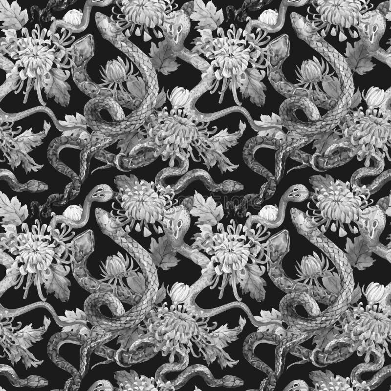 Serpente dell'acquerello e modello di fiori illustrazione di stock