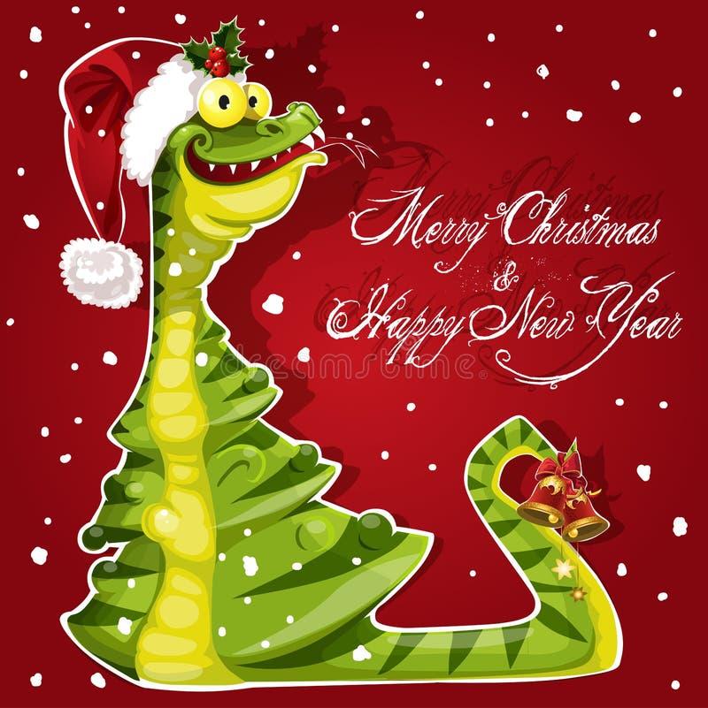 A serpente do ano novo comeu uma bandeira da árvore de Natal no vermelho ilustração royalty free